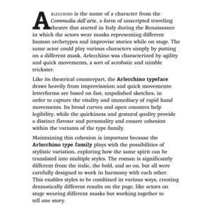 Exemplo de aplicação da fonte Arlecchino – Luisa Baeta